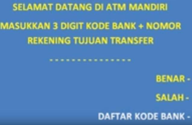 cara tranfwe uang lewat atm mandiri, M banking, Internet banking dan sms banking ke BRI atau bank lainnya