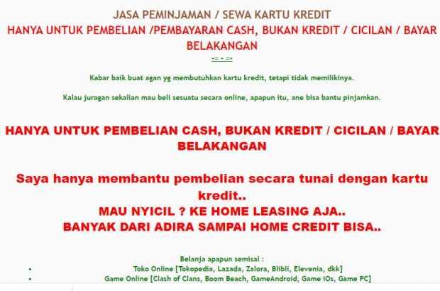 jasa peminjaman kartu kredit